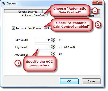 Set the Parameters of AGC