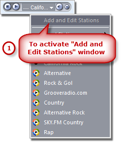 How to Search Radio Station - Activate Add and Edit Stations Window