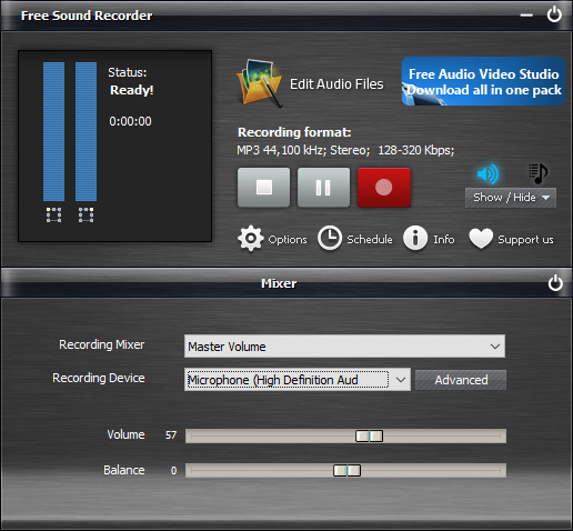 Select Sound Card and Source